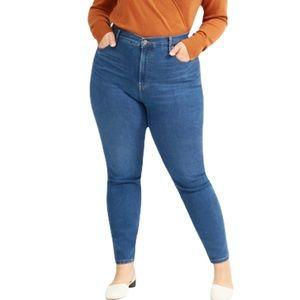 Everlane High Rise Dark Wash Skinny Jeans 33 Tall